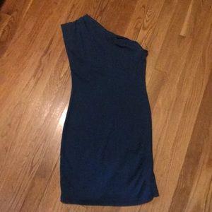 AA one shoulder blue dress